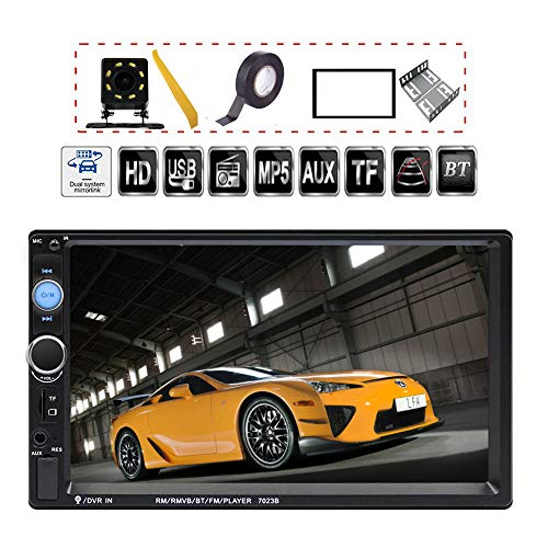 CACA Double Din Car Stereo Receiver 7 Inch Touchscreen In